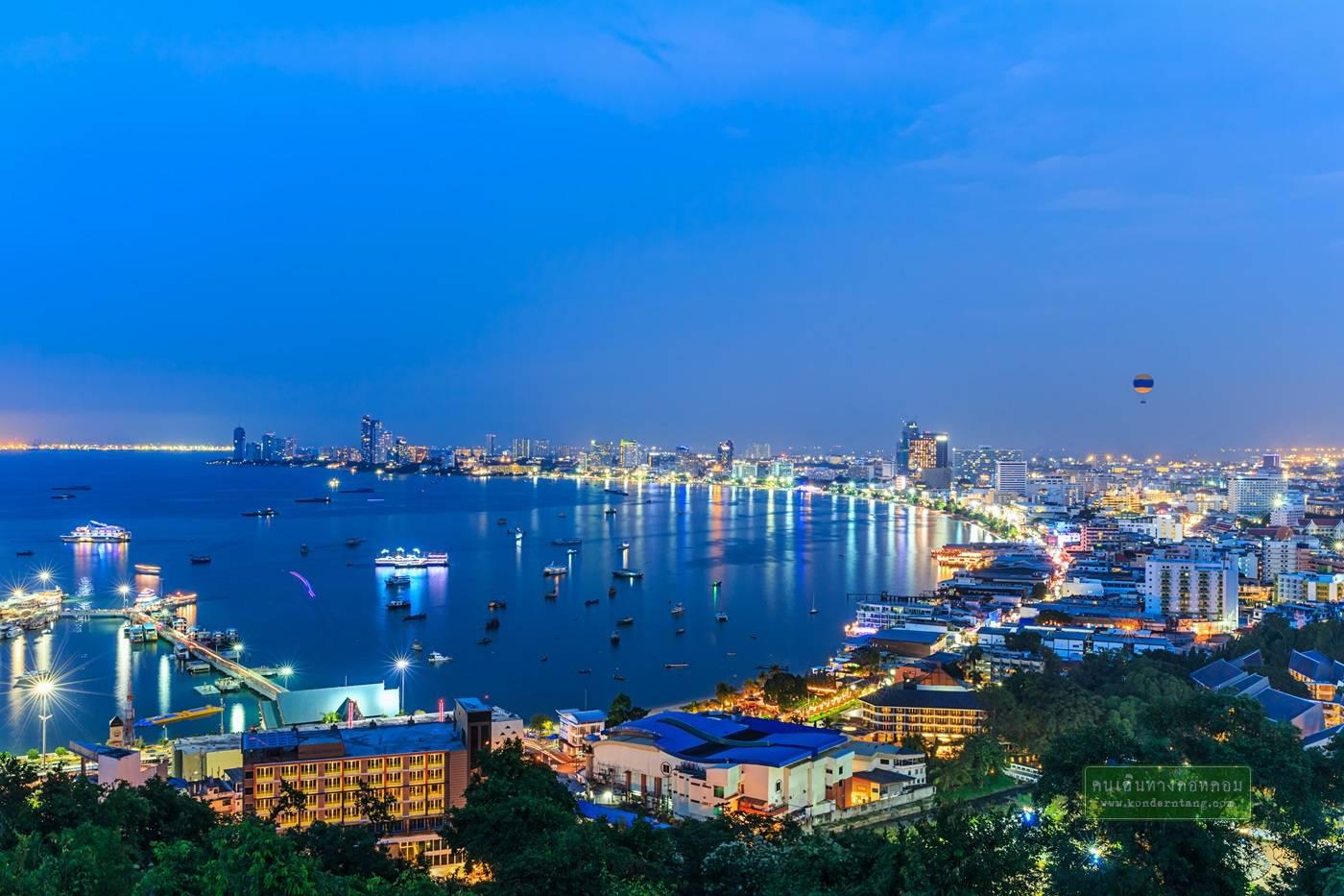 Cityscape of Pattaya at twilight